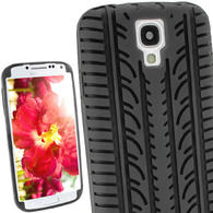 View Item iGadgitz Black Silicone Skin Case Cover with Tyre Tread Design for Samsung Galaxy S4 IV I9500 Android Smartphone Mobile Phone + Screen Protector